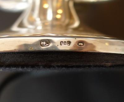 Silberne, achtarmige Tischleuchte