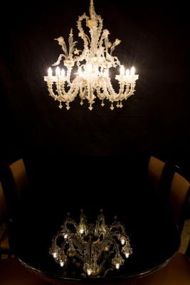 Transparent-Goldener Murano Glas Luster